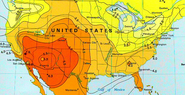 Solar Insolation Map  United States of America