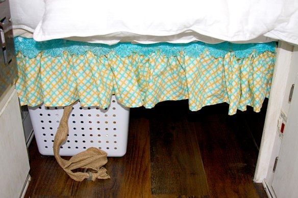 Inexpensive Under Bed Storage with Ribbon in a Casita Travel Trailer