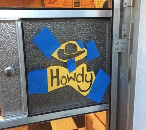 Howdy Stencil on Shasta Screen Door