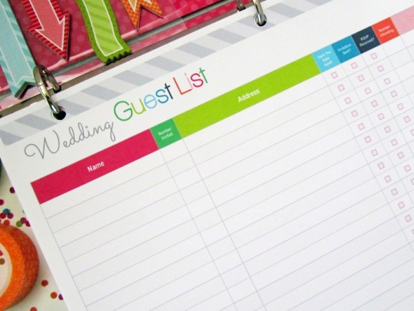 Free Printable Wedding Guest List Planner, Image Credit - Clean Life and Home, Putting together the Wedding Guest List