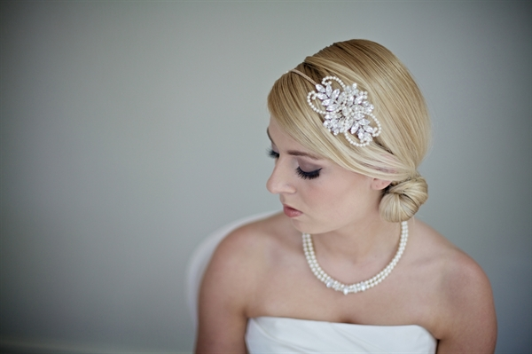 """Fauna Bridal double sided leaves pearl and rhinestone headband - LHG Designs, The Fauna Headband  (Roman Goddess of Nature) is from the 2014 Art Nouveau """"Goddess"""" collection. It features a leaf design in pearls and rhinestones in a marquise shape."""