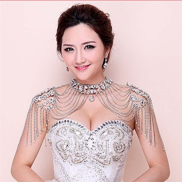 Stunning rhinestone and chain bridal necklace that covers the shoulders, LHG Designs