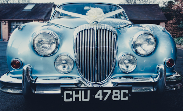 Winter wedding,  Vintage wedding, wedding car, daimler v8, mark pugh photography