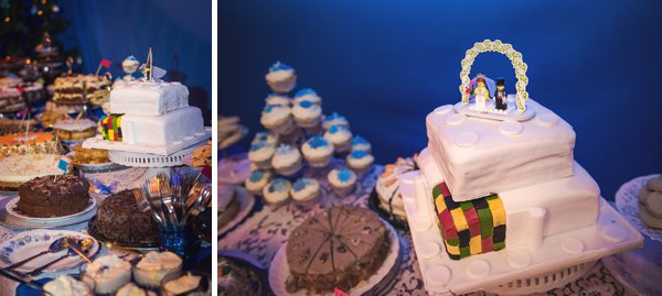 winter wedding, church wedding, julie anne images, anglo dutch wedding , church hall reception, dutch decor, wedding cake table, lego wedding cake, lego cake toppers