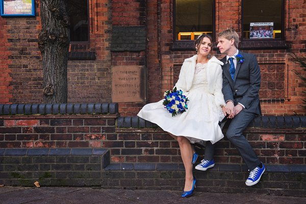 winter wedding, church wedding, julie anne images, anglo dutch wedding , church hall reception, dutch decor, bride and groom portraits, short 50's wedding dress,blue  converse shoes