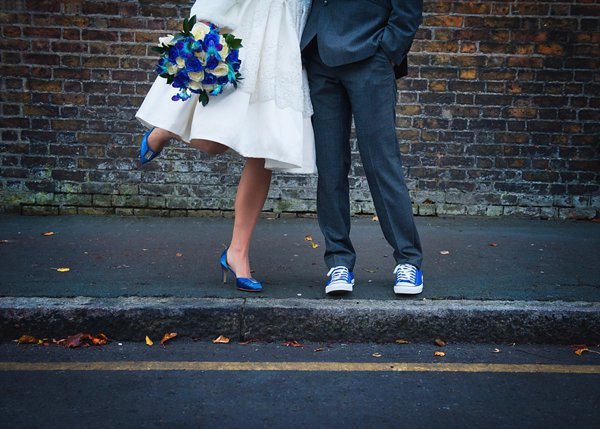 winter wedding, church wedding, julie anne images, anglo dutch wedding , church hall reception, dutch decor, short wedding gress, blue flower wedding bouquet, blue flower bridal bouquet, blue converse shoes, blue bridal shoes