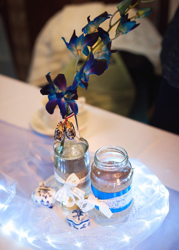 Delft pottery, winter wedding, church wedding, julie anne images, anglo dutch wedding , church hall reception, dutch decor