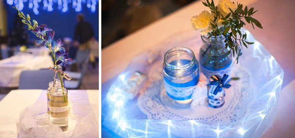 Delft pottery, winter wedding, church wedding, julie anne images, anglo dutch wedding , church hall reception, dutch decor, floral table centrepiece with blue ribbon  and lace and fairy lights
