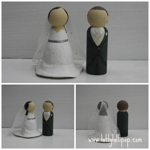 bride and groom  cake topper, groom and bride wedding cake topper, hand painted cake topper, hand painted, peg doll cake topper, peg doll cake topper, lotty lollipop