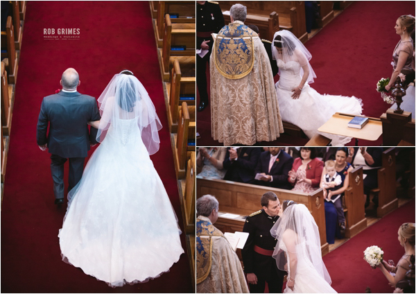 rob grimes photography, sandhurst, bride and father of groom going down aisle