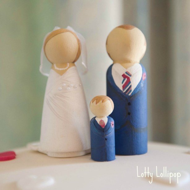 bride and groom cake topper, bride and groom wedding cake topper, hand painted cake topper, hand painted, peg doll cake topper, peg doll cake topper, lotty lollipop