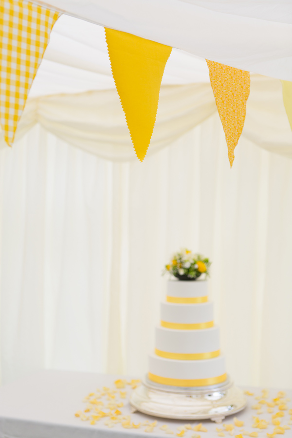 Hayley Ruth Photography , Sturmer Hall, yellow bunting, homemade wedding cake