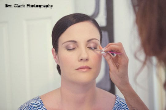 bride getting make up done, ben clark photography