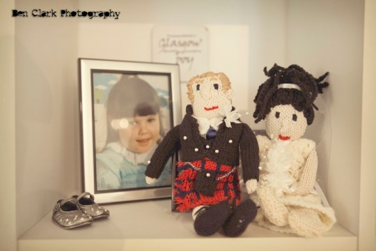 bride and groom knitted dolls, ben clarke photography