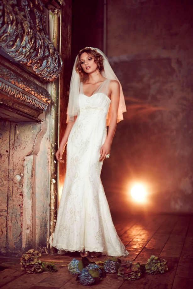 """""""8"""" Bridal Collection, Phase Eight, elodie dress, satin wedding dress with a luxurious beaded lace overlay and hand beaded motifs at the bust, fishtail sillouhette"""