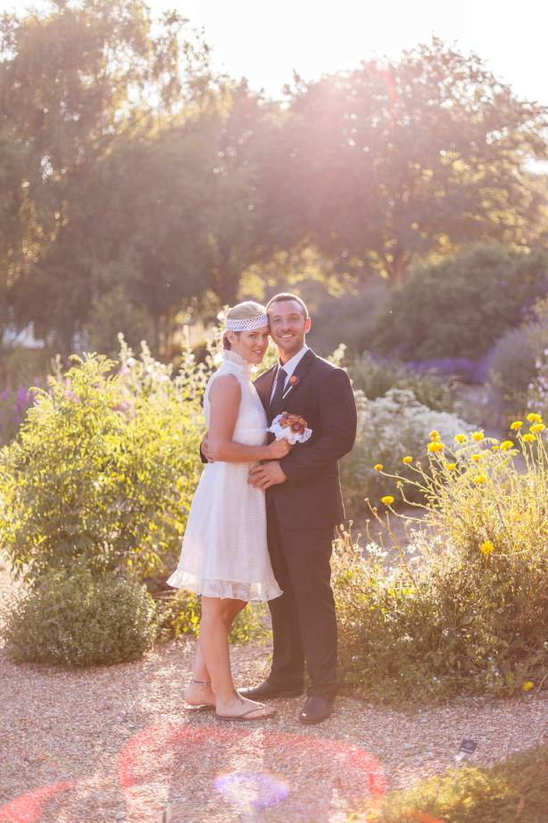 Chris Cowley Photography, bride and groom, short wedding dress, button bouquet, eco friendly shoot, ethical wedding, recycled wedding