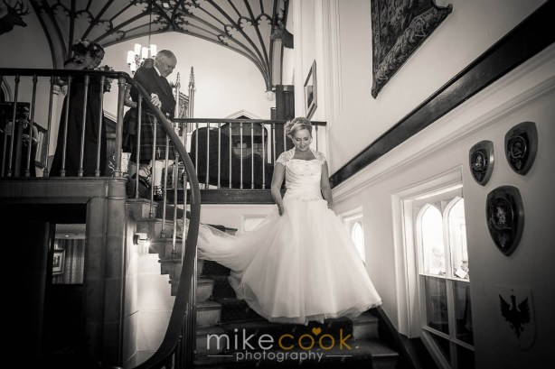 bride coming down stairs, mike cook photography, dalhousie castle