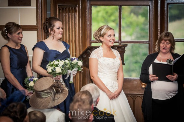 mike cook photography, bride and bridesmaids, wedding ceremony, dalhousie castle