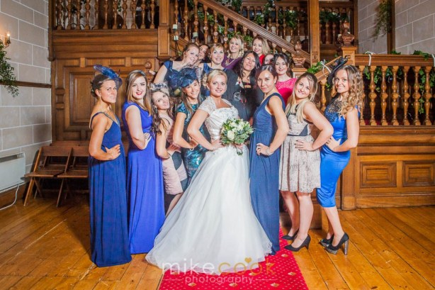 bride, bridesmaid, lady guests, dalhousie castle, mike cook photography