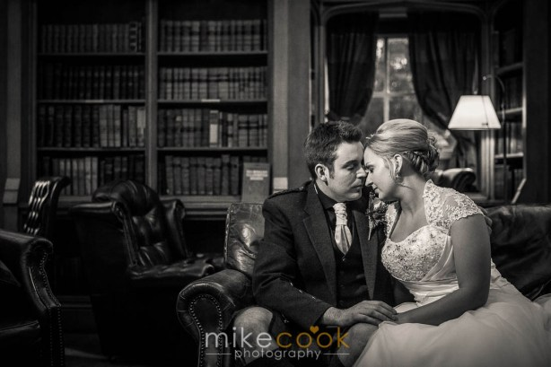 mike cook photography, bride and groom portraits, dalhousie castle