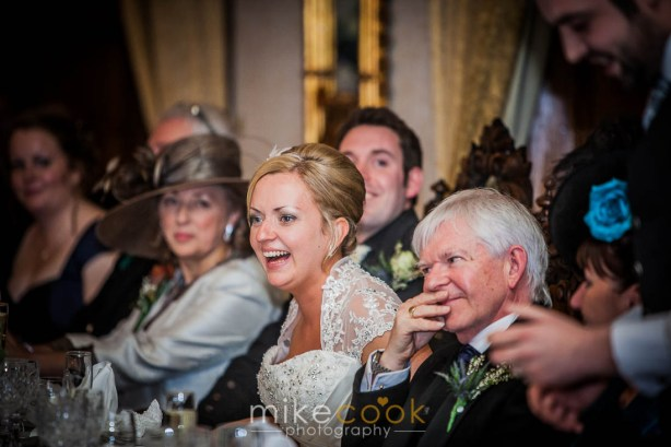 bride, top table, dalhousie castle, speeches, mike cook photography