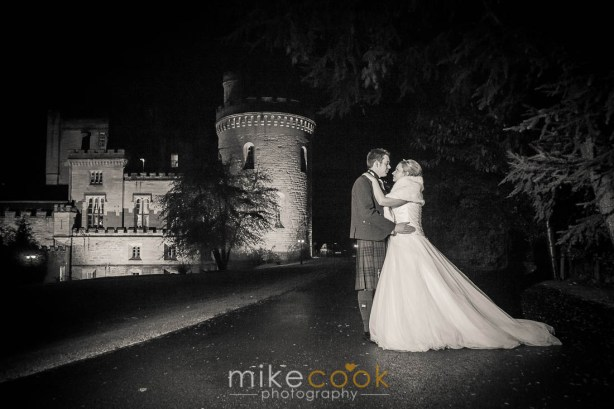 mike cook photography, dalhousie castle, outside bride and groom portraits