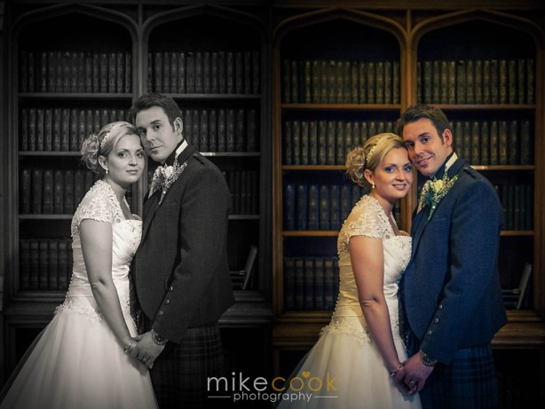 mike cook photography, bride and groom portraits, dalhousie castle, library