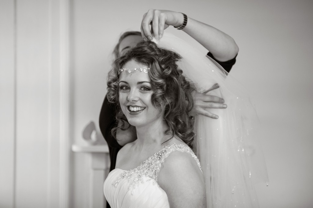 Layer-Marney-Tower, Pengelly-Photography, brides veil being attached