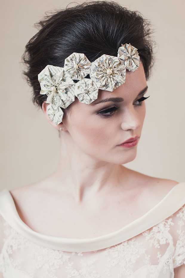 Klaire Van Eleton, Bridal adornments, bridal headbands, origami headbands, 2014 collection, hollybooth photography