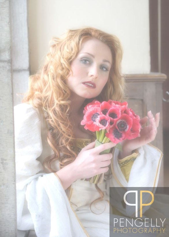 Pre Raphealite Styled shoot, Images by Pengelly Photography, Florist: Wild Poppies Flowers - Samantha French - (Flowers and Butterfly Hair Crown),  Costume hire: Artisan costume hire, Model: Charlette Kilby, Hairdresser: Beautiful hair 4 weddings - Tina Crossley, Venue - Layer Marney Tower , Makeup Artist: Emma Brooks Makeup