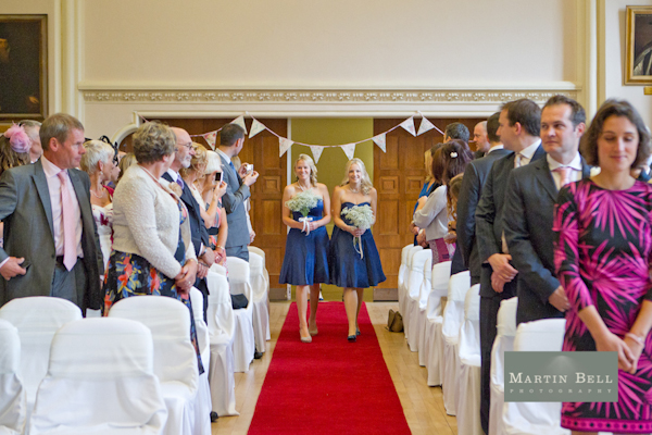 Winchester wedding photography, Martin Bell Photography, bridesmaids coming down aisle, bridesmaid blue dress