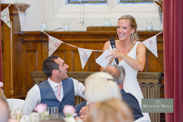 bride speech, bunting, Winchester wedding photography, Martin Bell Photography,