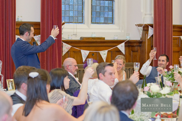 wedding toasts, bunting, Winchester wedding photography, Martin Bell Photography,
