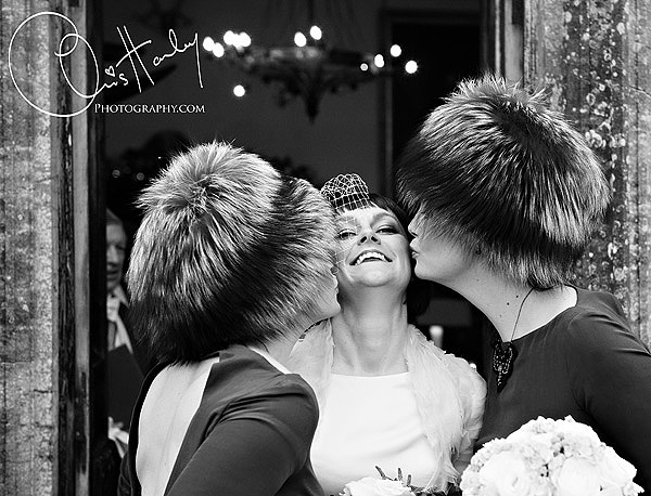 chris hanley photography, winter wedding , bride and bridesmaids, brampton house, new years eve wedding