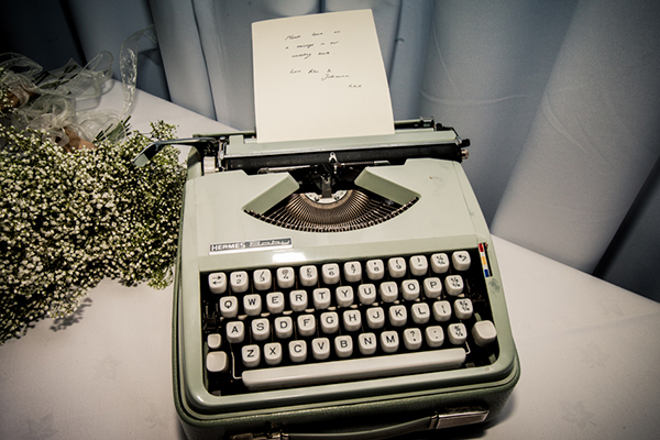 typewriter wedding guest book, wilson mcsheffrey photo
