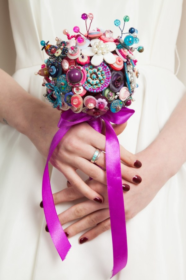 Hand crafted alternative bouquets, Bride as a Button