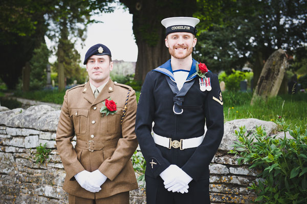 Cloud9-Wedding-Photography, navy groom, army best man, red rose buttonhole
