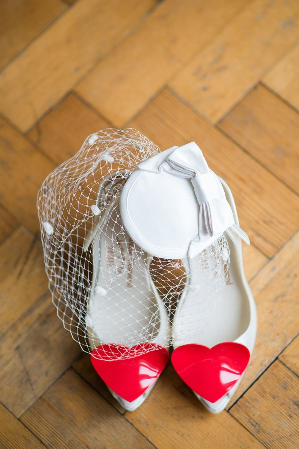 vivienne westwood lady dragon shoes, birdcage veil, hat, georgina harrison photography