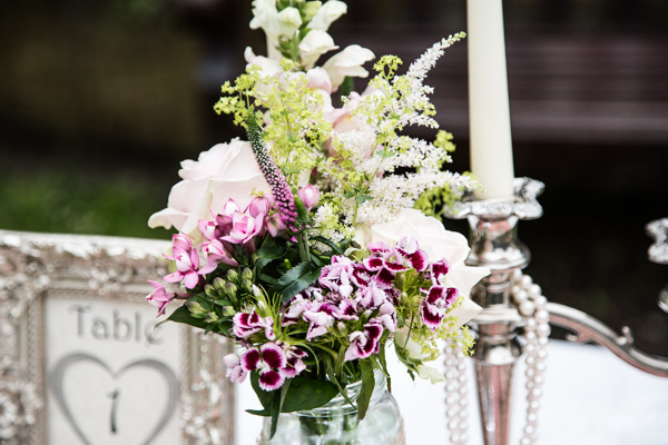 sonning flowers, candle stick, table number, Vintage Tea Party inspired Wedding Shoot, Styling by 9ice Events, Photography by Elysium Photography