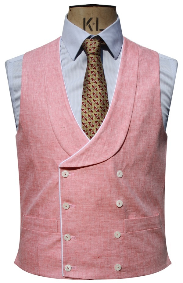 Front-of-Double-Breasted-Coral-Pink-Waistcoat, sir plus, luxury clothing