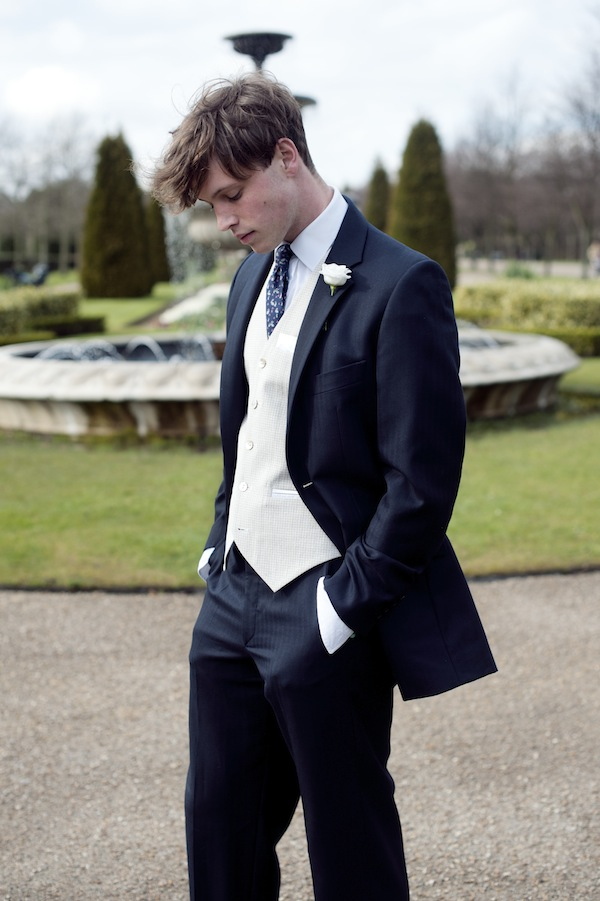 blue suit, white waistcoat, sir plus, luxury clothing, accessories