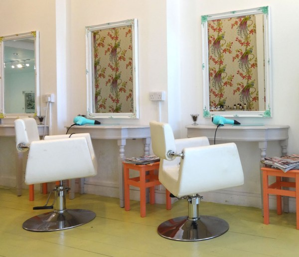 salon chairs, The Parlour London, vintage hair, bridal hair, braids, up do, blow dry
