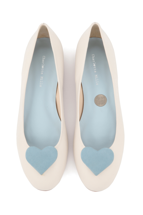 Anabel with Blue Hearts, wedding shoe, bridal shoe, bridal footwear, charlotte mills bridal