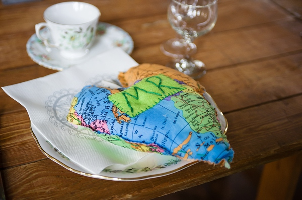 cris lowis photo, world map heart, place setting
