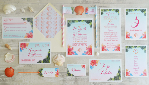 Tropical design, swoon at the moon, wedding stationery