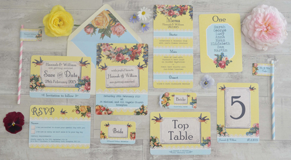 Vintage Brights design, swoon at the moon, wedding stationery
