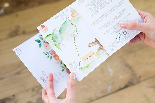 Handheld concertina design, Yellowstone Paperworks,  Contemporary  Wedding Stationery, Image by Hollybooth Photography