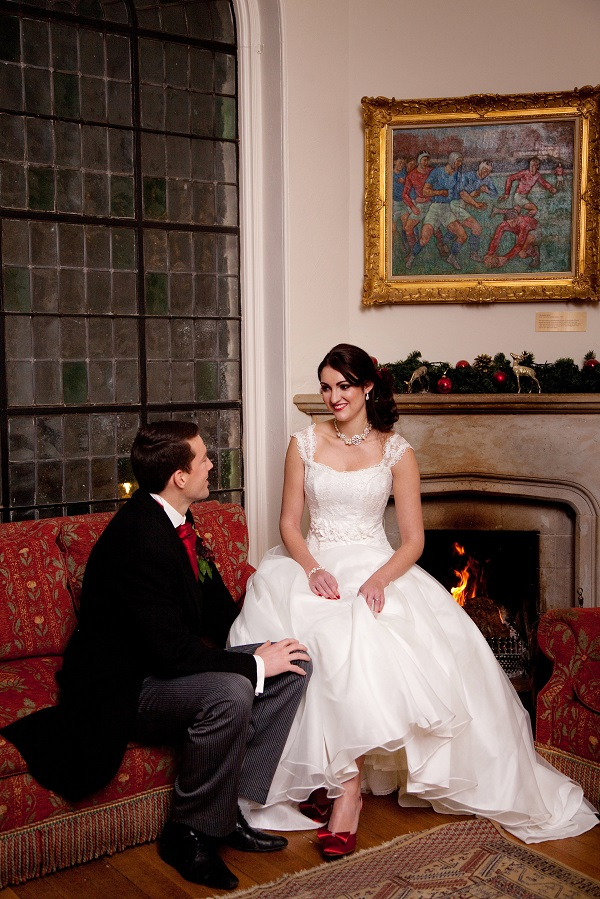 Internal Shot Bride & Groom By The Fire