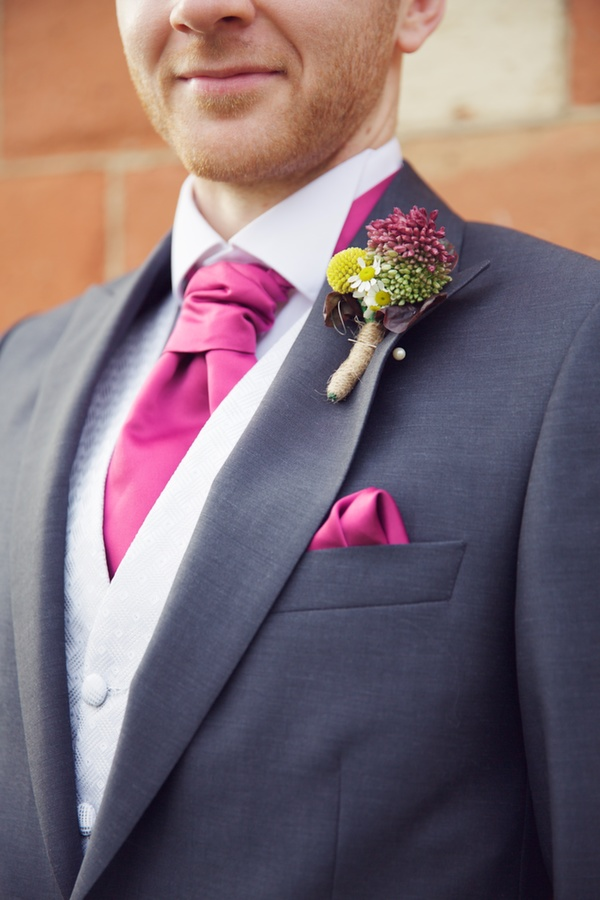 pink wedding details, grooms buttonhole, lucy lou photo