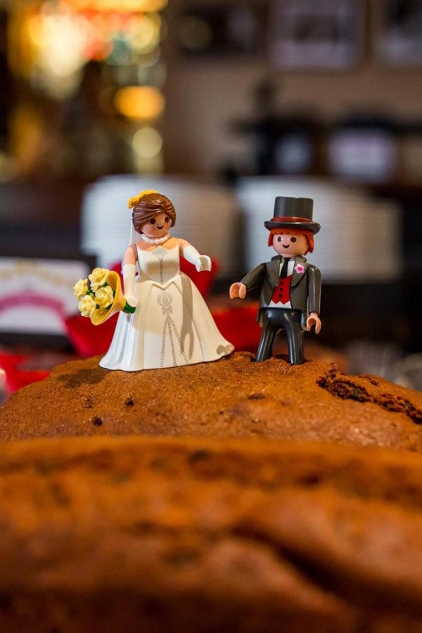 nick rutter photo, wedding reception, moldy fig, cake table, playmobil bride and groom